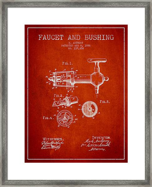1886 Faucet And Bushing Patent - Red Framed Print