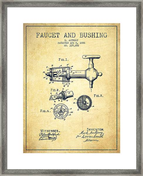 1886 Faucet And Bushing Patent - Vintage Framed Print