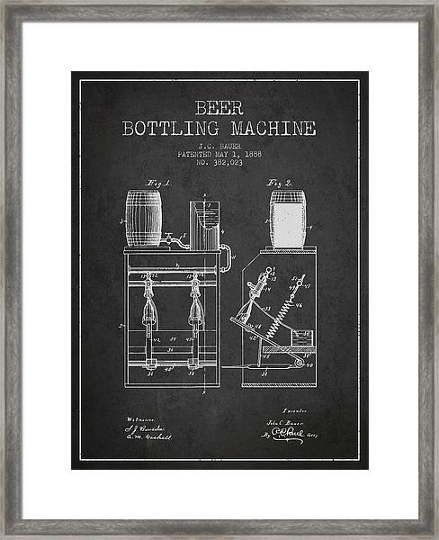 1888 Beer Bottling Machine Patent - Charcoal Framed Print