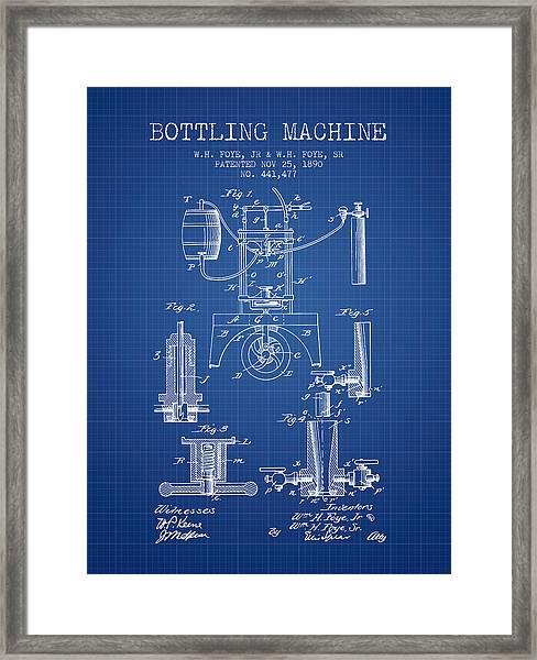 1890 Bottling Machine Patent - Blueprint Framed Print