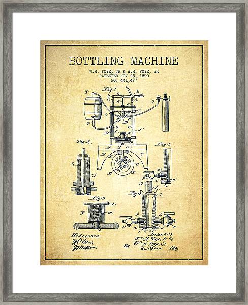 1890 Bottling Machine Patent - Vintage Framed Print
