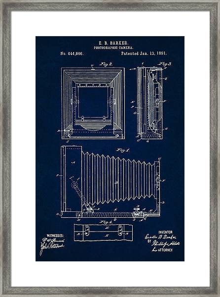 1891 Camera Us Patent Invention Drawing - Dark Blue Framed Print