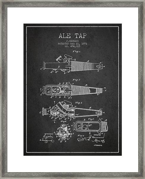 1893 Ale Tap Patent - Charcoal Framed Print