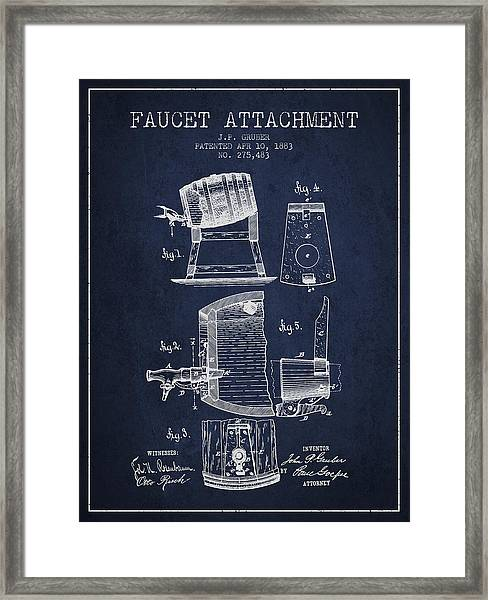 1893 Faucet Attachment Patent - Navy Blue Framed Print