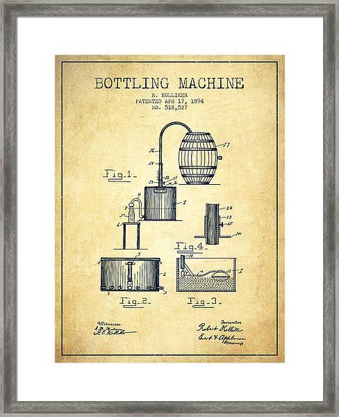 1894 Bottling Machine Patent - Vintage Framed Print
