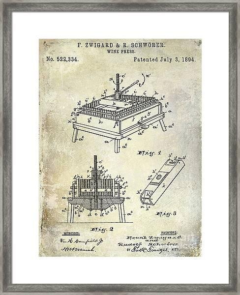1894 Wine Press Patent Framed Print