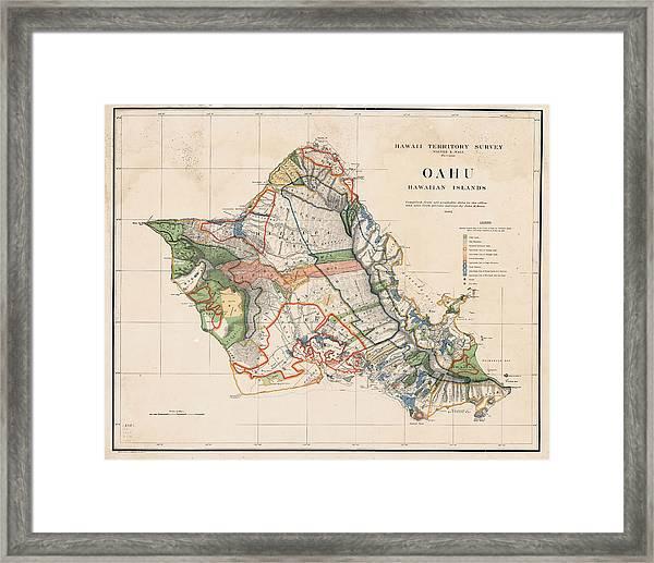 1900s Historical Oahu Map In Color Framed Print