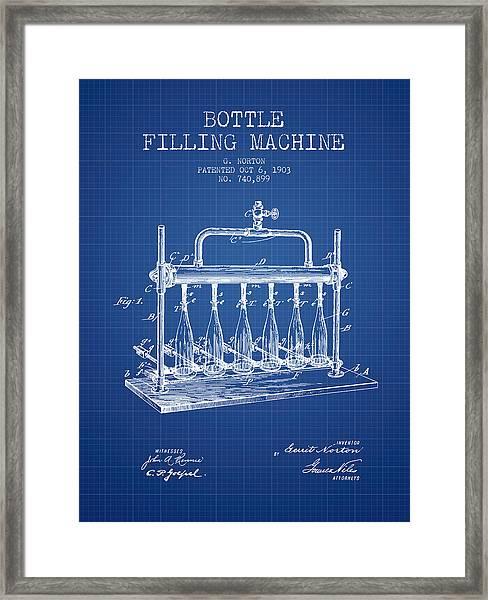 1903 Bottle Filling Machine Patent - Blueprint Framed Print