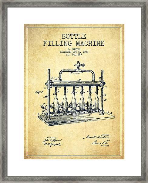 1903 Bottle Filling Machine Patent - Vintage Framed Print