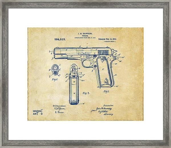 1911 Colt 45 Browning Firearm Patent Artwork Vintage Framed Print