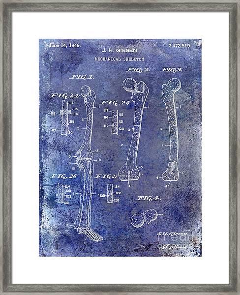 1911 Mechanical Skeleton Patent 1 Blue Framed Print