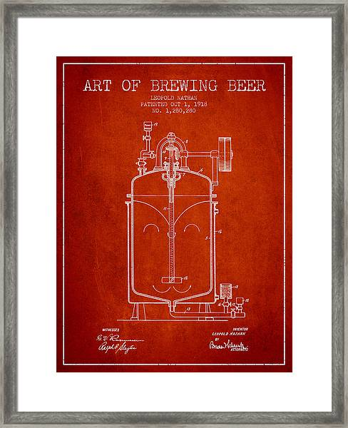 1918 Art Of Brewing Beer Patent - Red Framed Print