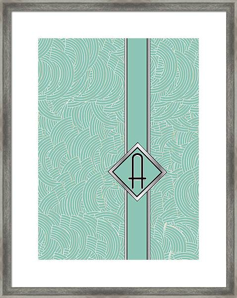 1920s Blue Deco Jazz Swing Monogram ...letter A Framed Print