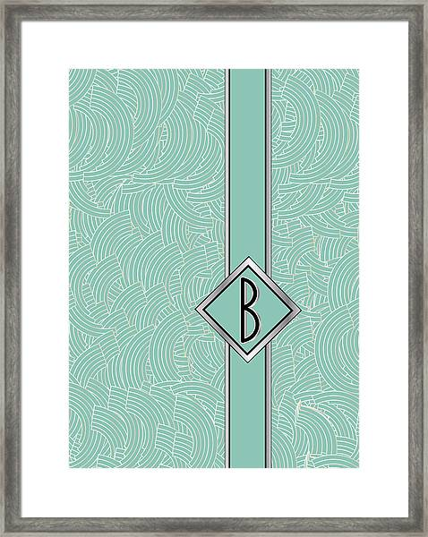 1920s Blue Deco Jazz Swing Monogram ...letter B Framed Print