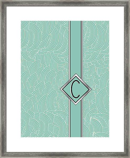 1920s Blue Deco Jazz Swing Monogram ...letter C Framed Print