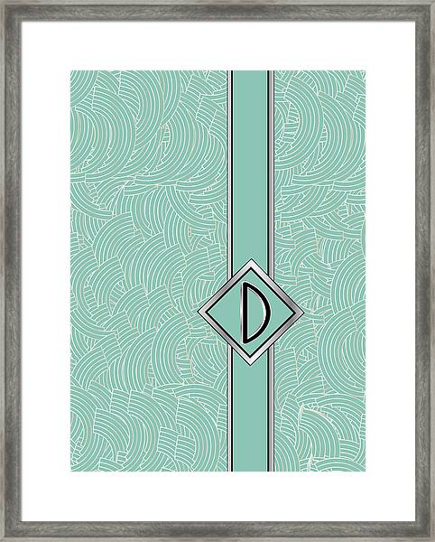 1920s Blue Deco Jazz Swing Monogram ...letter D Framed Print