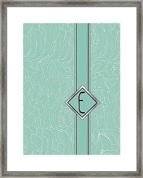 1920s Blue Deco Jazz Swing Monogram ...letter E Framed Print