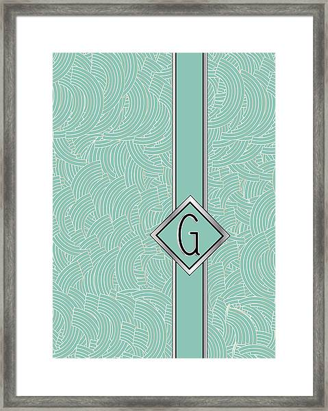 1920s Blue Deco Jazz Swing Monogram ...letter G Framed Print