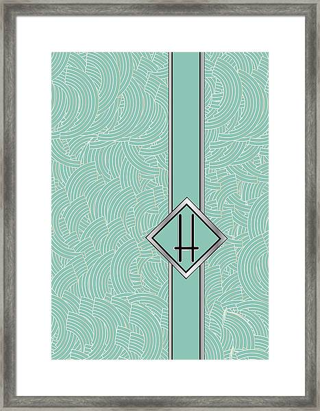 1920s Blue Deco Jazz Swing Monogram ...letter H Framed Print