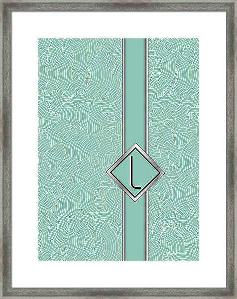 1920s Blue Deco Jazz Swing Monogram ...letter L Framed Print