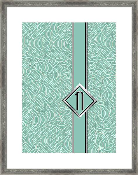 1920s Blue Deco Jazz Swing Monogram ...letter N Framed Print