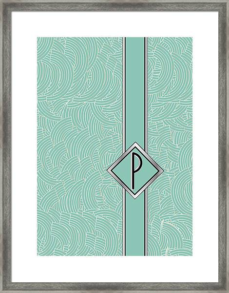 1920s Blue Deco Jazz Swing Monogram ...letter P Framed Print