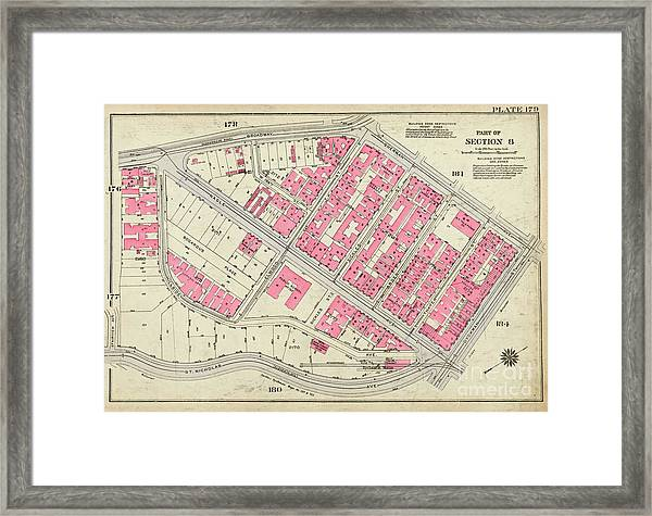 1930 Inwood Map  Framed Print