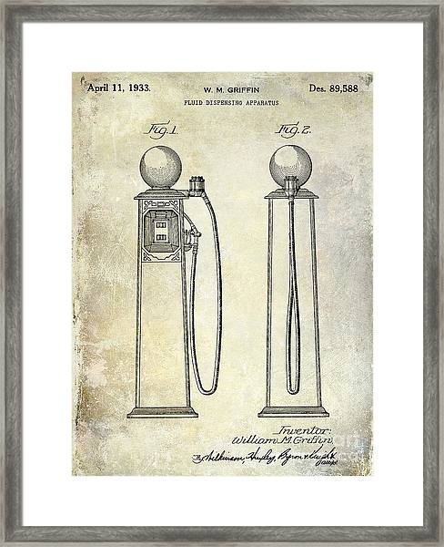 1933 Gas Pump Patent Framed Print