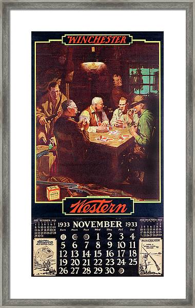 1933 Winchester Repeating Arms And Ammunition Calendar Framed Print
