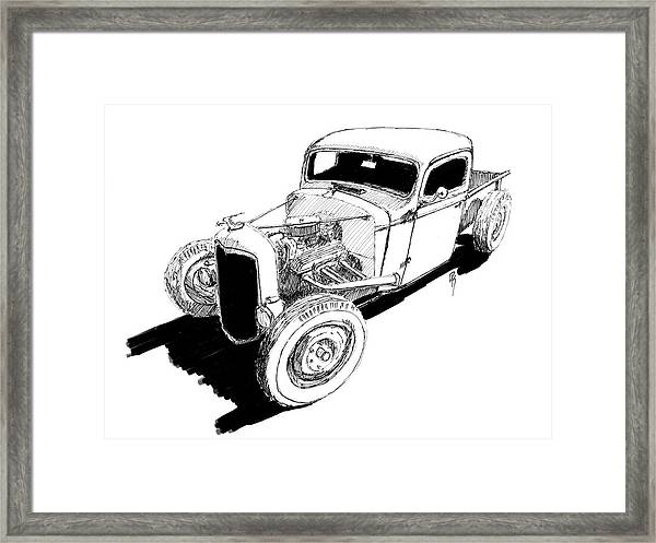 1937 chevy bobber truck hot rod ink dwg drawing by david king