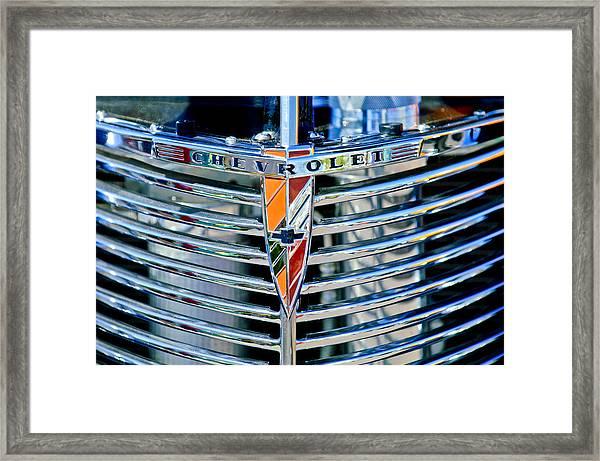 1939 Chevrolet Coupe Grille Emblem Framed Print