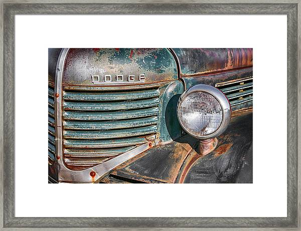 1940s Dodge Truck Front Grill And Headlight Framed Print