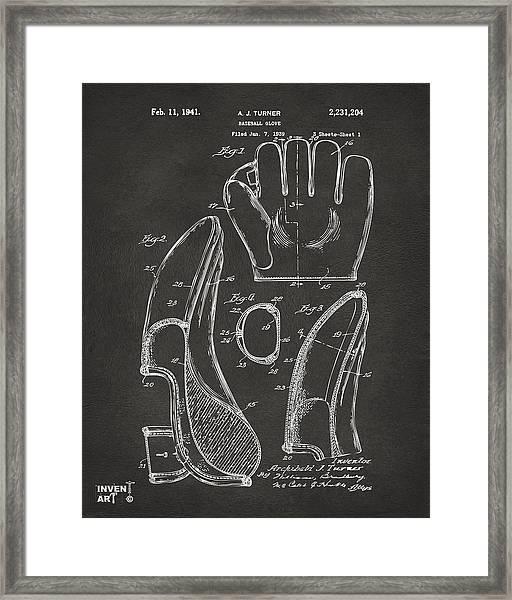 1941 Baseball Glove Patent - Gray Framed Print