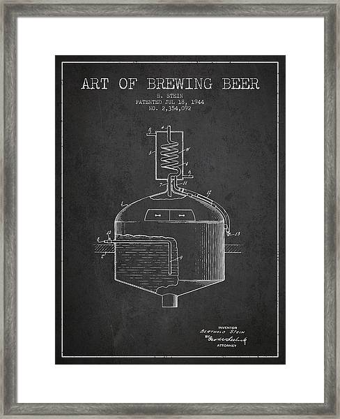 1944 Art Of Brewing Beer Patent - Charcoal Framed Print