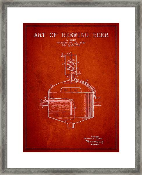 1944 Art Of Brewing Beer Patent - Red Framed Print