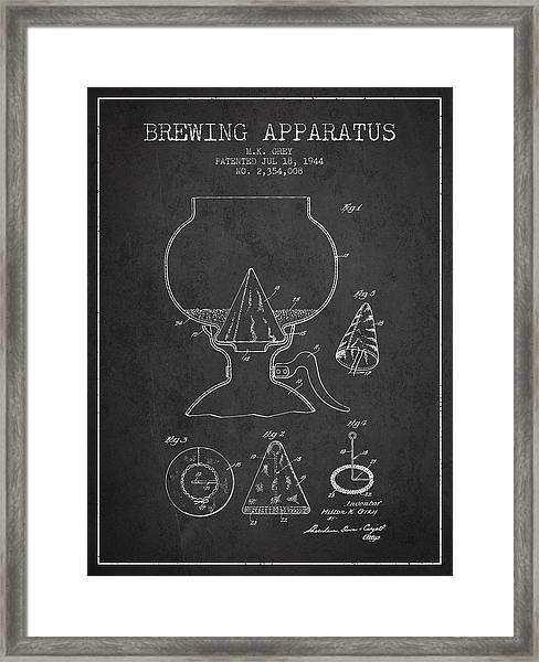 1944 Brewing Apparatus Patent - Charcoal Framed Print