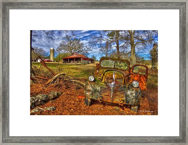 Retired 1947 Dodge Dump Truck Country Scene Art Framed Print