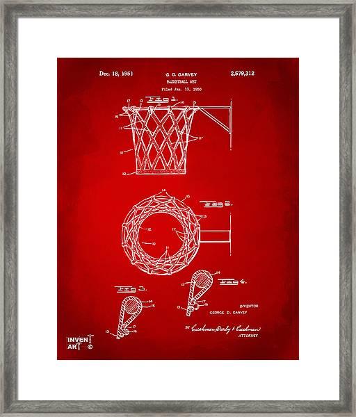 1951 Basketball Net Patent Artwork - Red Framed Print