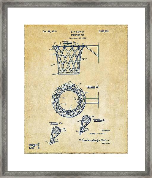 1951 Basketball Net Patent Artwork - Vintage Framed Print