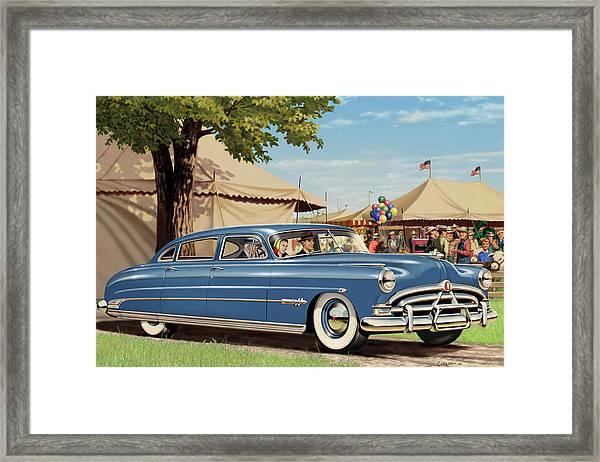 1951 Hudson Hornet Fair Americana Antique Car Auto Nostalgic Rural Country Scene Landscape Painting Framed Print