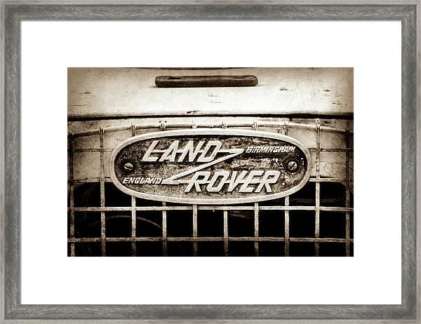 1952 Land Rover 80 Grille  Emblem -0988s2 Framed Print