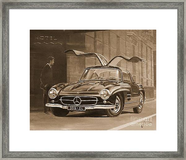 1954 Mercedes Benz 300 Sl  In Sepia Framed Print
