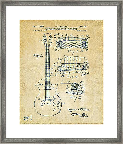 1955 Mccarty Gibson Les Paul Guitar Patent Artwork Vintage Framed Print