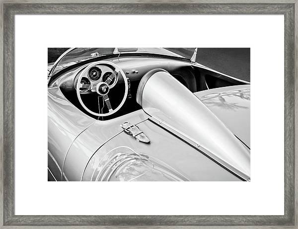 1955 Porsche Spyder Steering Wheel -0037bw3 Framed Print