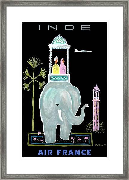 1956 Air France India Travel Poster Framed Print