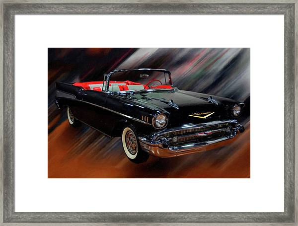 1957 Chevy Bel Air Convertible Digital Oil Framed Print