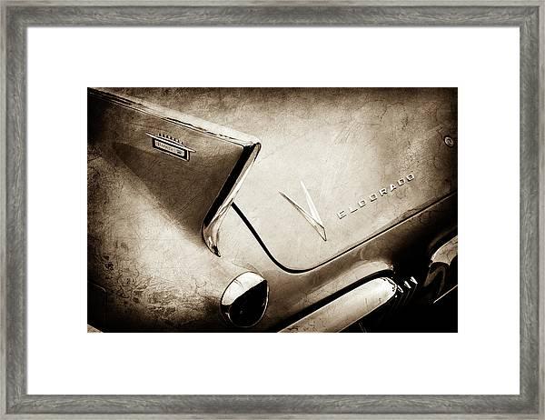 1958 Cadillac Eldorado Biarritz Taillight Emblems -0255s Framed Print