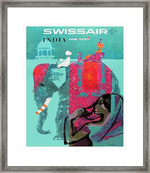 1958 Swissair India Travel Poster Framed Print