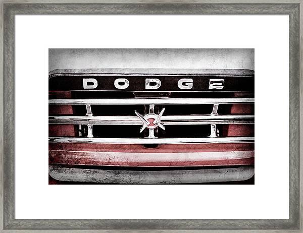 1960 Dodge Truck Grille Emblem -0275ac Framed Print