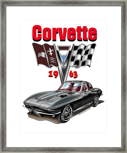 1963 Corvette With Split Rear Window Framed Print